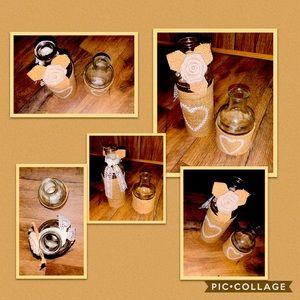 •Set of 2 Decorative Glass Jars•